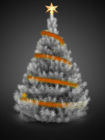 3d  silver Christmas tree over gray background with orange tinsel and golden star