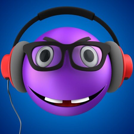 3d illustration of violet emoticon smile with red headphones over blue background