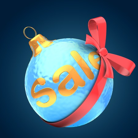 3d  ice blue Christmas ball over dark blue background with sale sign and red bow Zdjęcie Seryjne