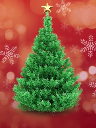 3d illustration of Christmas tree over red and snow background with golden star