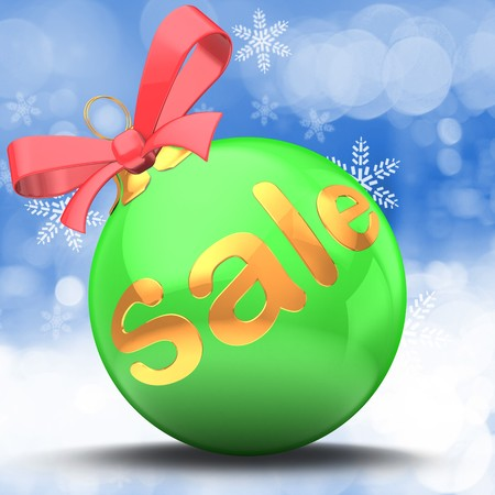 3d green Christmas ball over winter background with sale sign and red ribbon