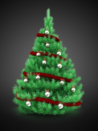 3d Christmas tree over gray background with red tinsel and silver balls