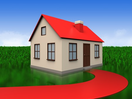 3d illustration of house with red road over meadow background Stock Photo