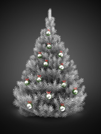 3d silver Christmas tree over gray background with  metallic balls Zdjęcie Seryjne