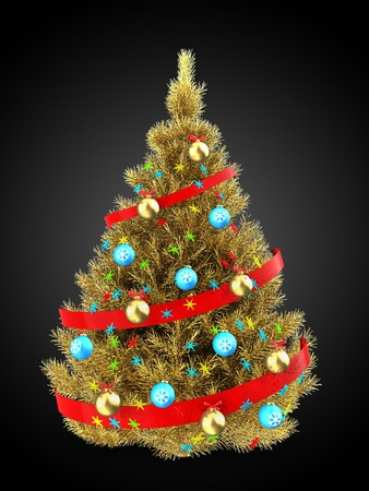 sequins: 3d illustration of golden Christmas tree with red ribbon over black background