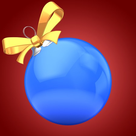 3d  blue Christmas ball over red background with yellow ribbon