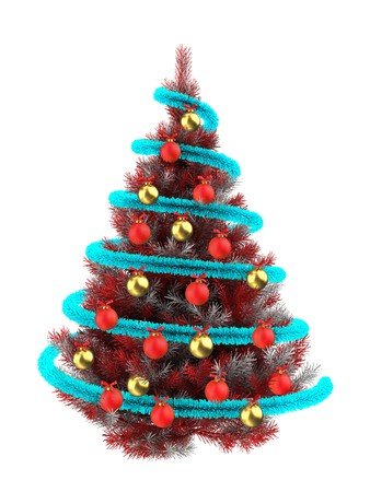 3d illustration of red Christmas tree over white with golden balls