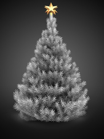 3d  silver Christmas tree over gray background with   golden star Zdjęcie Seryjne