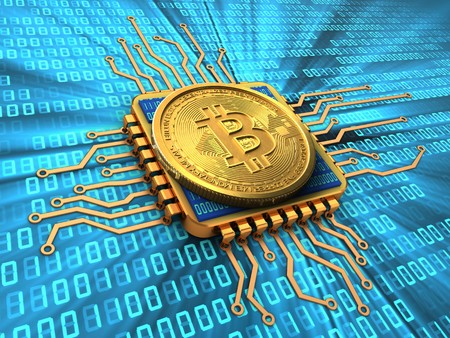 3d illustration of bitcoin over binary background with cpu gold