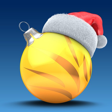 3d  Christmass ball over blue background with golden ornament and Christmas hat Zdjęcie Seryjne