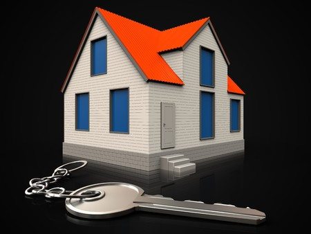 3d illustration of cottage house with key over black background