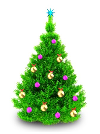 3d illustration of neon green Christmas tree with pink balls over white background