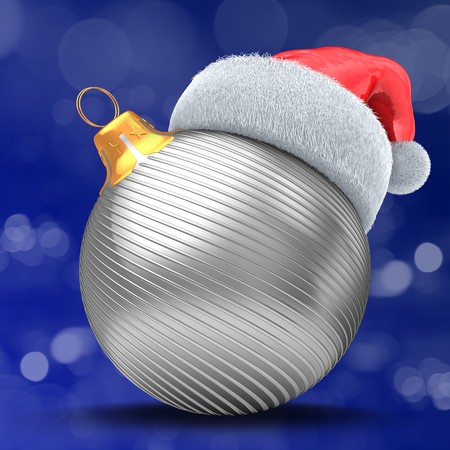 3d  silver Christmas ball over bokeh blue background with silver lines and Christmas hat