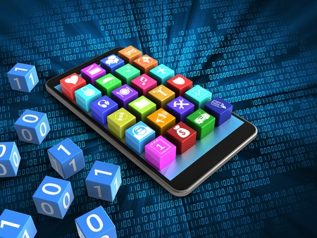 cyan business: 3d illustration of mobile phone over digital background with binary cubes and application icons