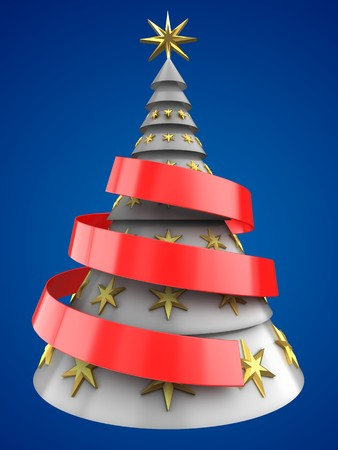 bola ocho: 3d illustration of white Christmas tree over blue background with decoration Foto de archivo