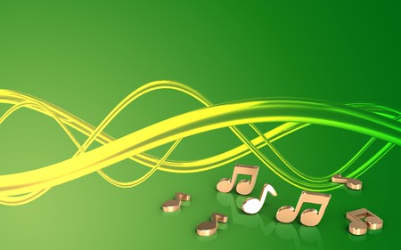 3d illustration of notes over green background