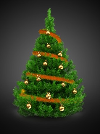 3d   green Christmas tree over gray background with tinsel and golden balls