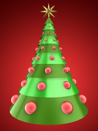 8 ball: 3d illustration of Christmas tree over red background with red balls Stock Photo