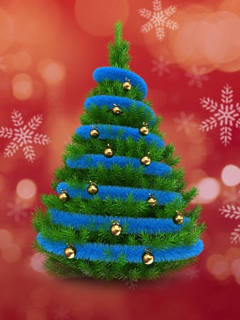 3d Christmas tree over red and snow background with blue tinsel and golden balls