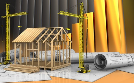 3d illustration of frame house construction with crane over golden charts background