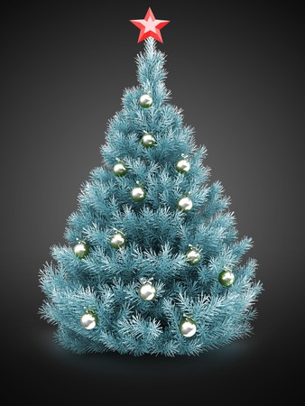 3d Christmas tree over gray background with red star and silver balls