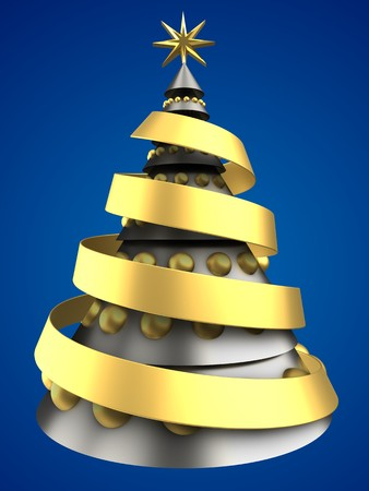3d illustration of metal Christmas tree over blue background with golden balls