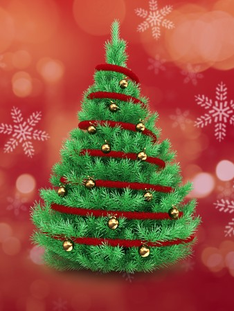 3d Christmas tree over red and snow background with red tinsel and golden balls