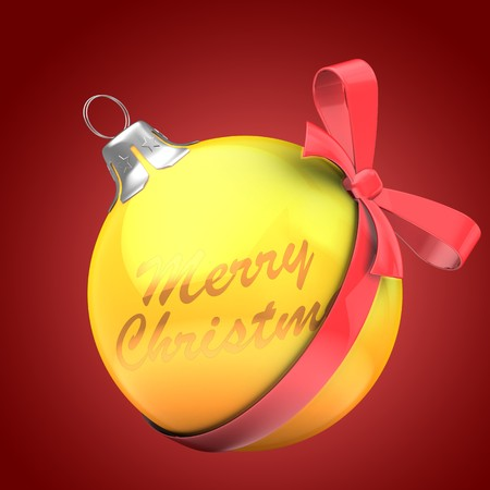 3d  Christmass ball over red background with Merry Christmas text and red bow