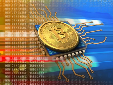 3d illustration of bitcoin over cyber background with cpu orange