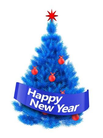 3d illustration of blue Christmas tree  over white background