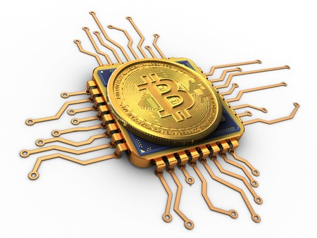 pc: 3d illustration of bitcoin over white background with cpu gold Stock Photo
