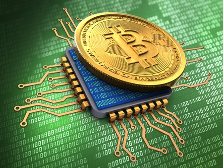 3d illustration of bitcoin over green background with cpu