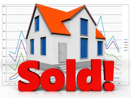 3d illustration of house with sold sign over diagram background Stock Photo