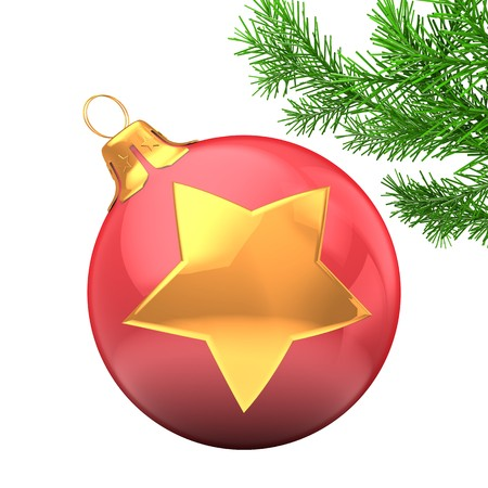 3d  Christmass ball over white background with golden star and christmas tree branch