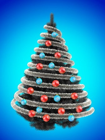 3d illustration of gray Christmas tree over blue with red balls and frippery