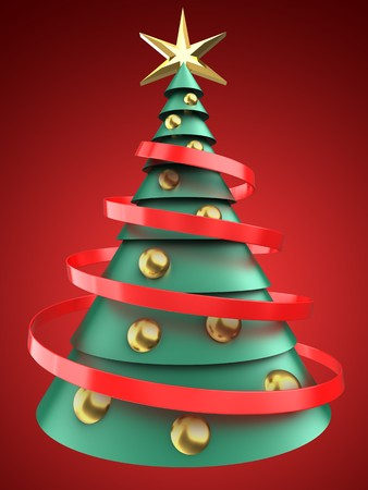 3d illustration of green and blue xmas tree over red background with golden balls
