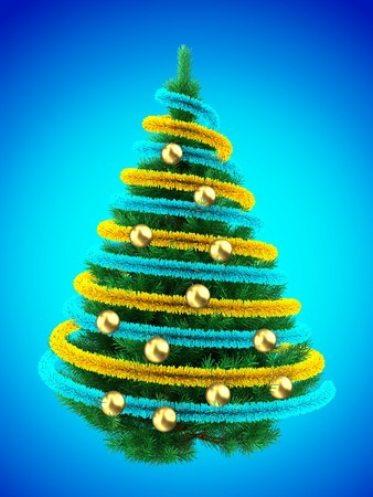 3d illustration of Christmas tree over blue with golden balls and frippery Stock Photo