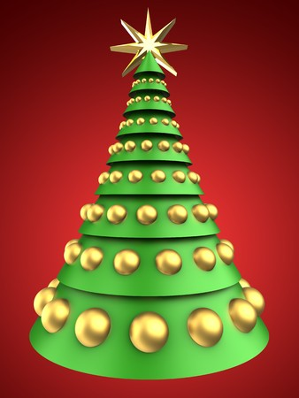 3d illustration of christmas tree over red background with golden balls