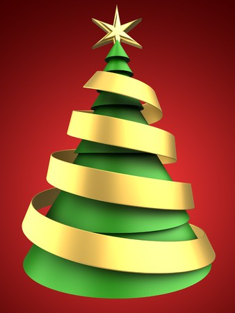 3d illustration of christmas tree over red background with ribbon Stock Photo