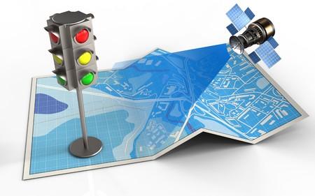 3d illustratie van stadskaart met verkeerslicht en