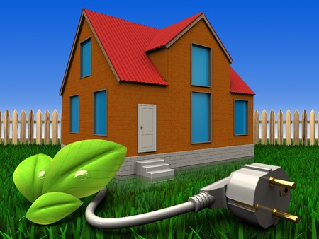 3d illustration of cottage with eco power cable over lawn and fence background