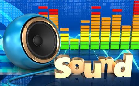 3d illustration of blue sound speaker over cyber background with sound sign