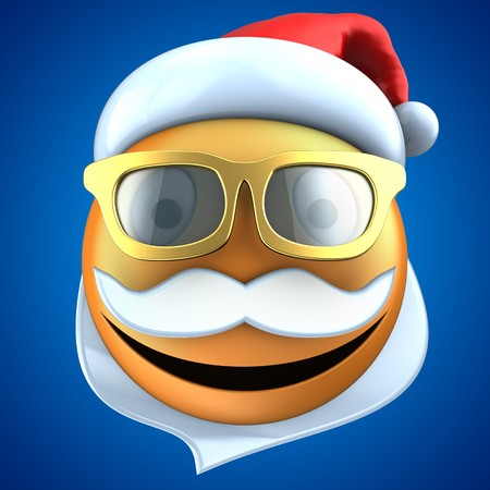 3d illustration of orange emoticon smile with christmas hat over blue background Stock Photo