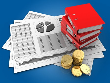3d illustration of business charts and binder folders over blue background
