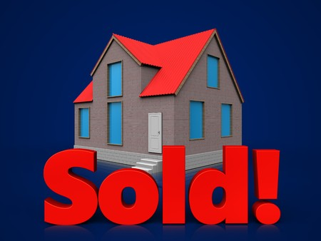 3d illustration of house with sold sign over dark blue background Stock Photo