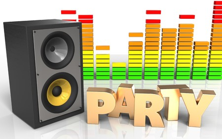 3d illustration of sound system over white background with party sign