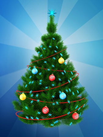 3d illustration of dark green christmas tree with red decorations over blue background stock illustration - Green Christmas Tree With Blue Decorations
