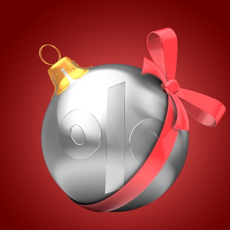 3d   silver Christmas ball over red background with percent sign and red bow Zdjęcie Seryjne