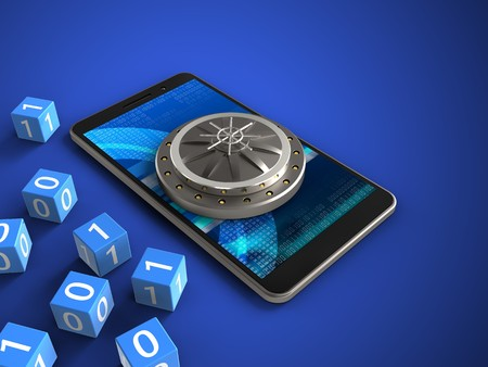 3d illustration of mobile phone over blue background with binary cubes and vault door