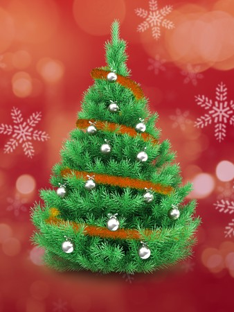 3d   Christmas tree over red and snow background with orange tinsel and silver balls